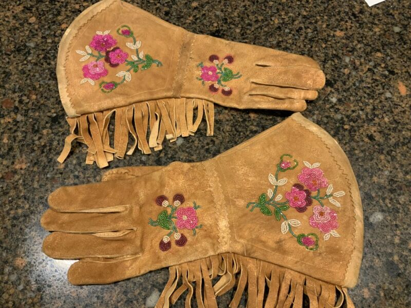 Vintage Native American Beaded Leather Gauntlets Gloves 1870's