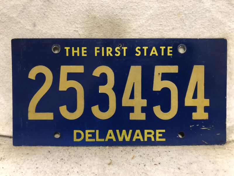 Vintage Delaware License Plate (Riveted Numbers)