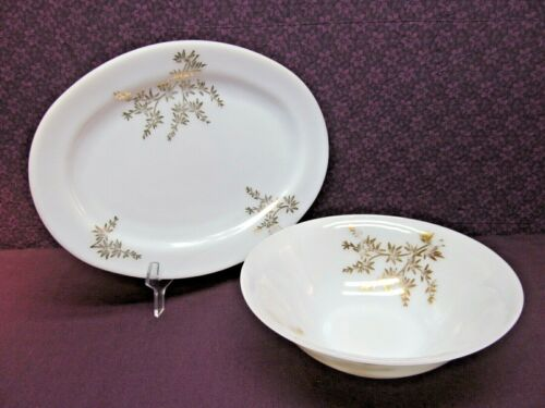 "VINTAGE FEDERAL MILK GLASS - GOLDEN GLORY - 12"" PLATTER & VEGETABLE SERVING BOWL"