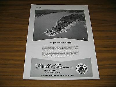 1954 Writing Ad Chubb & Son Yacht Insurance Sippican Harbor Marion,MA