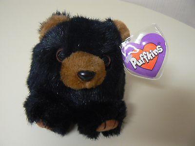 Puffkins Plush BENNY Black Bear Plush #6603 SWIBCO Birthdate 1-25-97 NWT