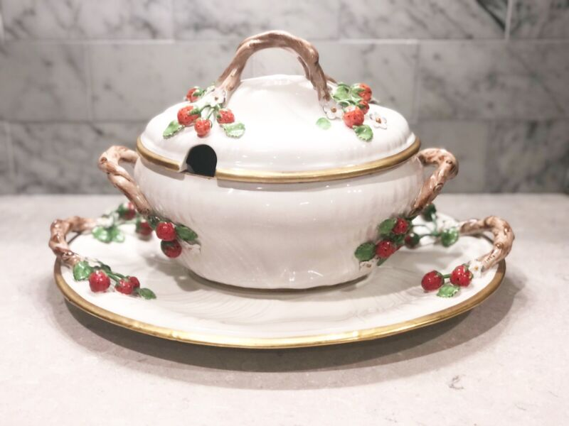 Vintage Hand Painted STRAWBERRY Soup Tureen W/Lid & Liner, Italy