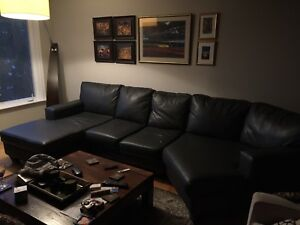 Modern Grey Leather Sectional Sofa