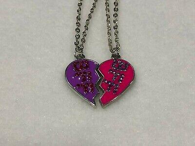 BEST FRIEND Heart Pendant 2 Necklaces Pink & Purple Rhinestones BFF