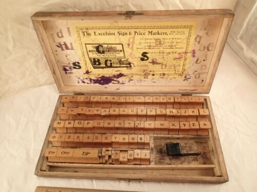 """Antique """"The Excelsior Sign & Price Markers"""" Advertising Stamps Original Box"""