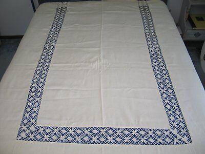 Antique Vintage Victorian Linen & Lace Bedspread~Coverlet / Darn Net Lace-Monogr