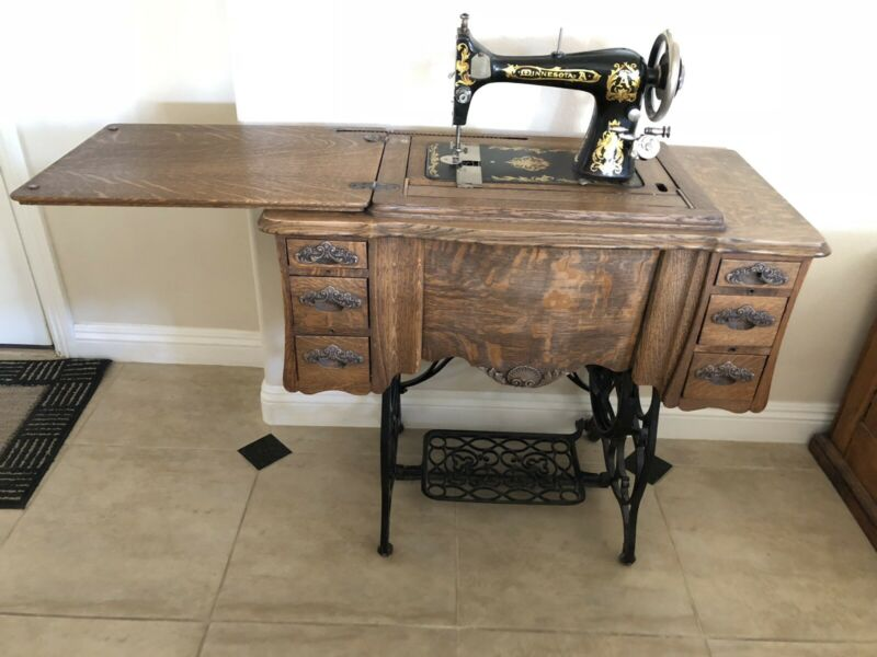 Antique Minnesota A Treadle Sewing Machine in Oak Cabinet