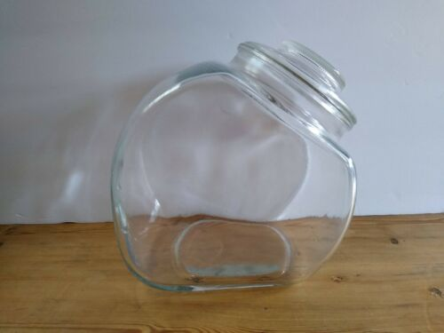 Vintage Clear Glass Penny Candy Jar Container Slanted Tilted with Glass Lid