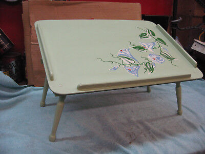 folding tray/ book stand, ca 1960, Better Homes, wood w/ hand painted floral NOS
