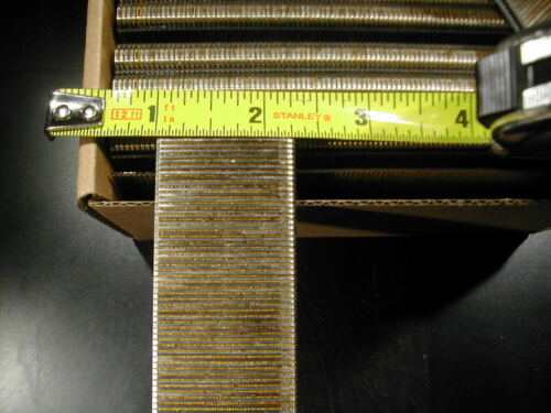 "18 gauge 1/4"" Narrow Crown Staples 5000/bx Galvanized Chisel Point 1-1/4"" long"