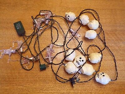 2 Vintage skeleton SKULL string LIGHTS blinking Halloween hanging Decorations