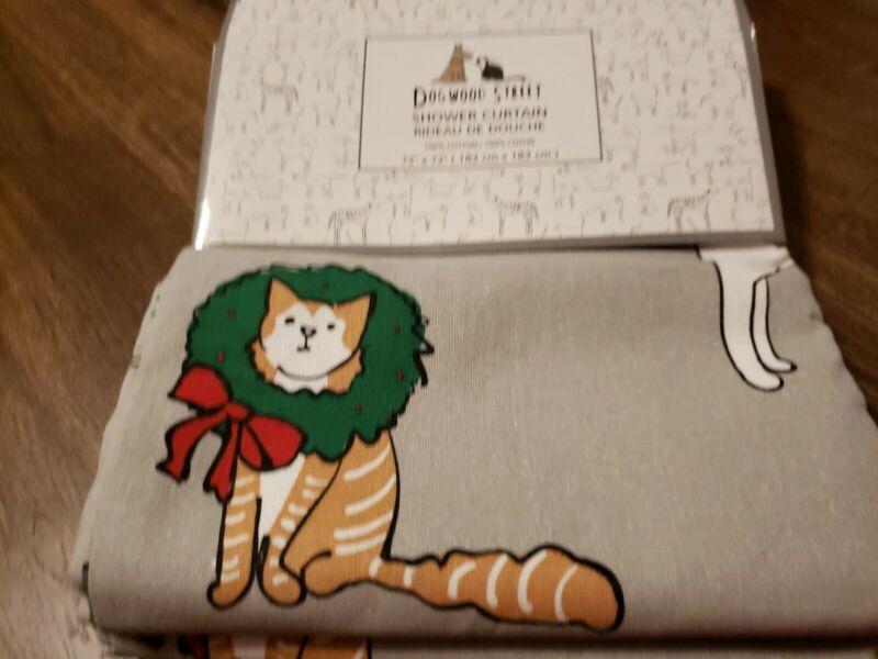 DOGWOOD STREET Holiday Christmas Kitty Cat Kitten Cotton Fabric Shower Curtain