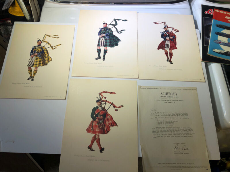Dewars White Label Scottish Clan Prints Schenley Vintage Lot Of 4 13x9""