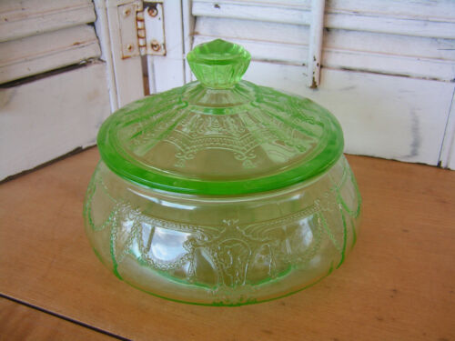 Vintage Cameo Ballerina Depression Glass Candy Jar with Lid in Green
