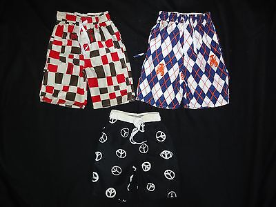 3 prs WES and & WILLY skull pirate SWIM TRUNKS shorts SWIMSUIT little boys 4 LOT