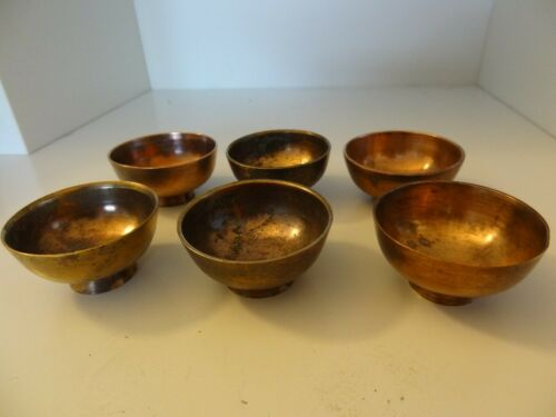 ANTIQUE MONGOLIAN TIBETAN  BUDDHIST COPPER OFFERING BOWLs 6 SETS