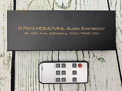 Cables Adapters 3 Ports HDMI MHL Audio Extractor with IR Remote Control 4K ARC, used for sale  Shipping to India