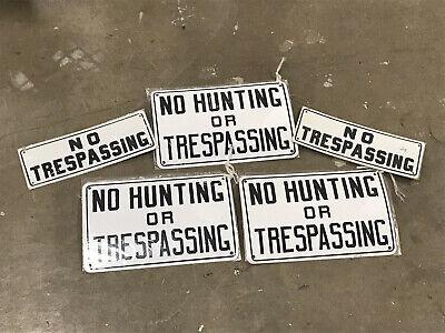 vintage NO HUNTING OR TRESPASSING + NO TRESPASSING sign lot - tin metal