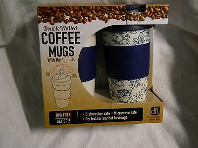 2 Lifetime Brands Double Wall Coffee Mugs With Flip Top Lids Blue And White Set
