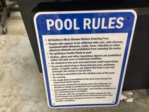 Aluminum Pool Rules Sign, 24 x 18 in