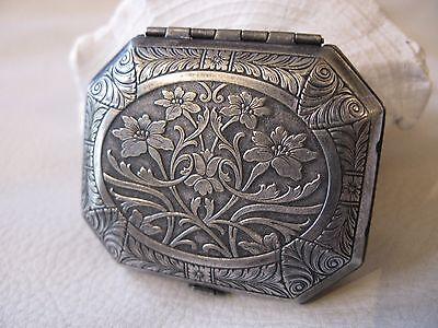 Antique Art Nouveau Silver T Tri Fold  Double Compact WOODWARD KARESS #3