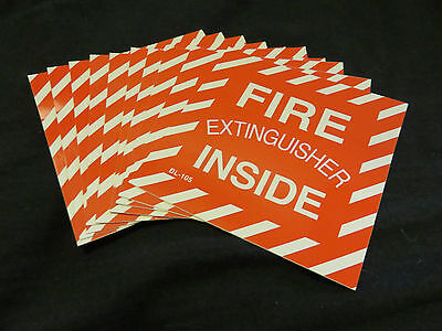 Lot Of 10-fire Extinguisher Inside 4 X 4 Vinyl Adhisive Signs