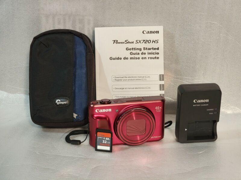 Canon PowerShot SX720 HS Digital Camera 20.3MP 1080p HD Red w/ 32GB SD Card