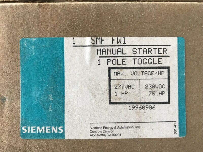 Siemens Furnas SMF FW1 Manual Motor Starter SMFFW1 NEW in box