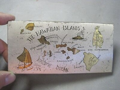 Vintage Metal Hawaiian Islands Cigarette Case Surfers Outrigger King Kamehahmeha