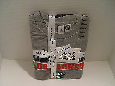 New Columbus Blue Jackets Shop Men's T-shirt Flannel Pajama Sleep Set Size M