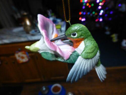 Porcelain Hummingbird Ornament, Signed