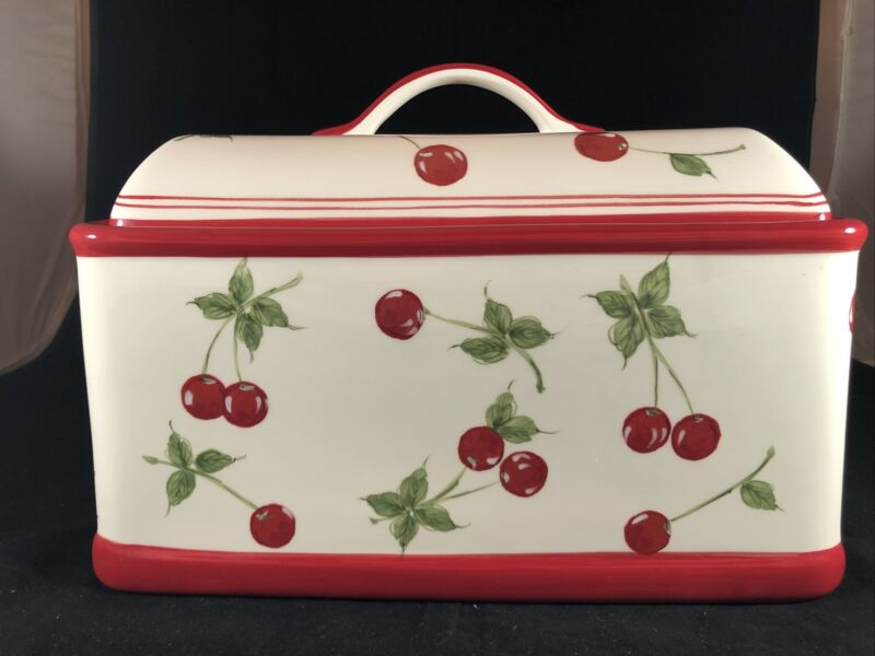 """Retired Target Home Coll. Cherries Hand Painted Ceramic Bread Box Cherry Red 13"""""""