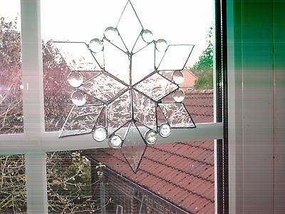 "TIFF. Fensterbild Stern,  ""Handarbeit"" edel, klar,  Eisblumenglas."