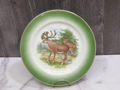"Buffalo Pottery Deer Stag Doe Green 9.25"" Plate"