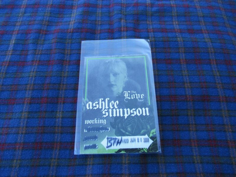 ASHLEE SIMPSON TOUR PASS Band Concert Backstage / Working Pass AS IS BUY IT NOW!