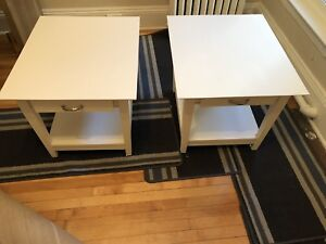 Side tables in excellent condition- real wood, very heavy