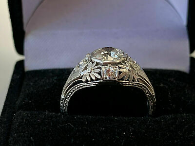 Vintage Art Deco Antique Engagement Ring Fine 2 Ct Diamond 14K White Gold Finish Antique Art Deco Ring