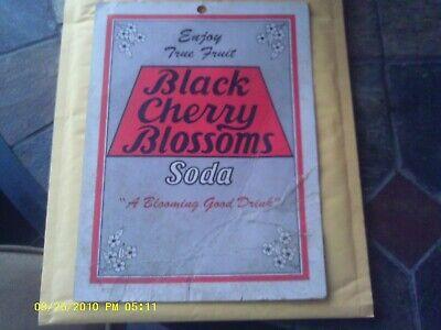 RARE VINTAGE BLACK CHERRY BLOSSOMS SODA POP SIGN POSTER FRUIT DRINK AD