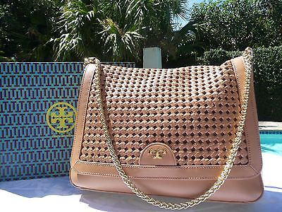 NWT TORY BURCH ERICA SHOULDER BAG MOUSSE BROWN-$465 & GIFT BAG-12149872