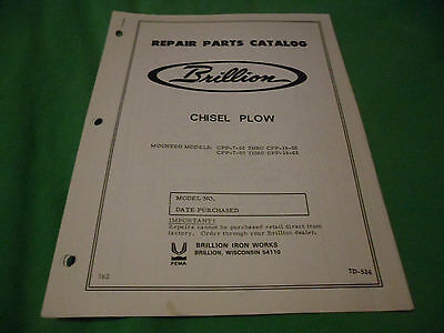 Drawer 16 Brillion Chisel Plow Cpp-7-01 Cpp-16-02 Others Repair Parts Catalog