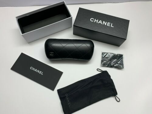 CHANEL Case Sunglasses W Women S C Black Ch Authentic Eyeglasses  Italy Small