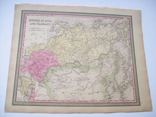 Antique 1854 MITCHELL MAP RUSSIA IN ASIA & TARTARY  # 65 hand tinted