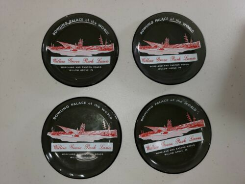 Willow Grove Park Lanes Bowling Palace of the World Glass Coasters - 4