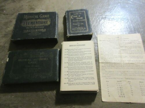 1898 Antique - Music Card Game of Triads,Chords,Musical Authors game&Elements