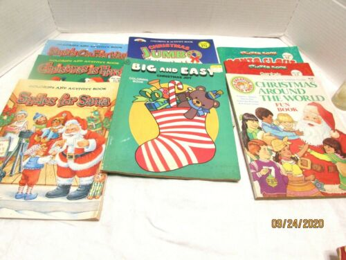 LOT OF 8 VINTAGE CHRISTMAS COLORING ACTIVITY STICKER BOOKS 80S 90S