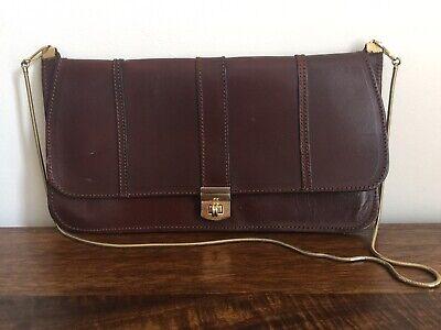 Woman's Vintage Retro Brown Leather Shoulder/Clutch Satchel Handbag Gold Strap❤️
