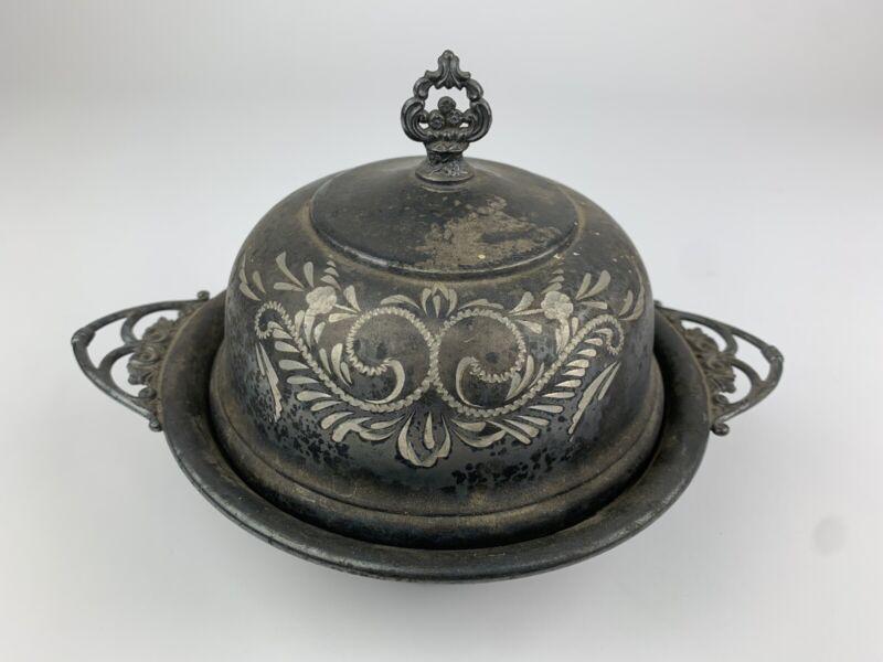 VAN BERGH Quadruple Silverplate Vintage Antique BUTTERDISH Bowl Cover Knife Rest