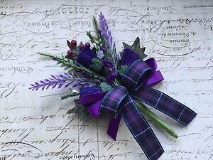 1 Scottish buttonhole Pride Of Scotland (Modern) Tartan Ribbon, Thistle, Heather