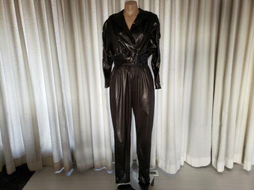 Vintage 80s Lame Wet Leather Look Black Pant Suit Jacket Pants S M 5 - 6 7- 8