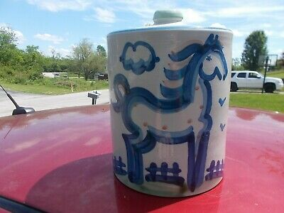 "M. A. MARY HADLEY Folk Art Pottery 8.25"" Canister Cookie Jar Horse ""The End"""